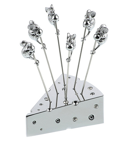 ARTHUR PRICE Cheese n' 6 picks silver-plated set