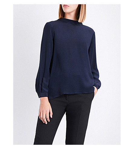 CLAUDIE PIERLOT Floral lace-trim satin top (Petrol
