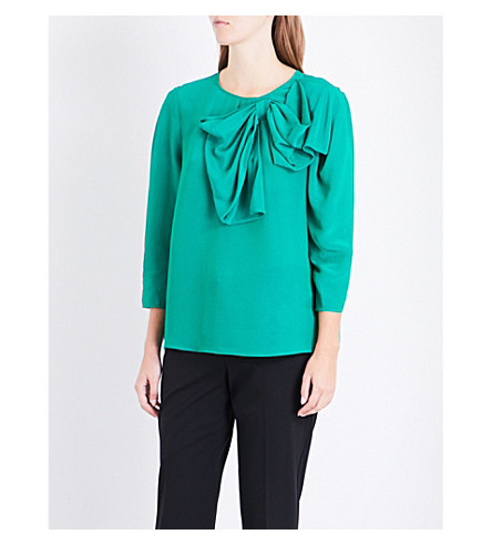 CLAUDIE PIERLOT Oversized-bow crepe blouse (Vert+sapin