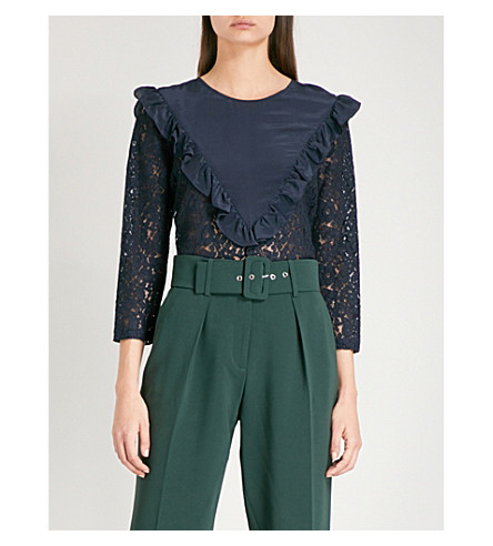 CLAUDIE PIERLOT Banksia frilled-trim lace top (Petrol