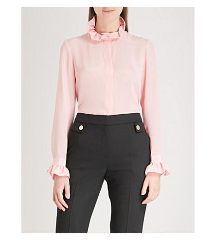 CLAUDIE PIERLOT Frilled-trim satin shirt (Pink