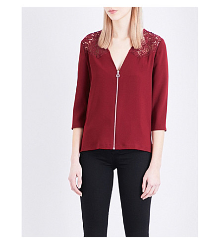 CLAUDIE PIERLOT Ballon crepe top (Grenat
