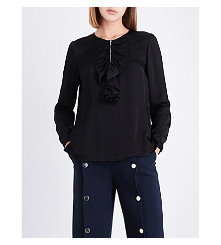 CLAUDIE PIERLOT Ruffled satin blouse (Noir