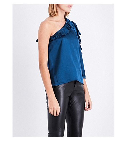 CLAUDIE PIERLOT Asymmetric ruffled satin top (Canard