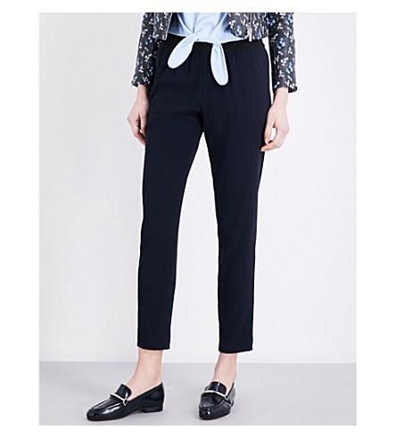 CLAUDIE PIERLOT Porto mid-rise straight crepe trousers (Marine