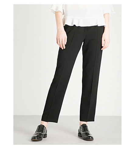 CLAUDIE PIERLOT Pop striped-detail cropped woven trousers (Black