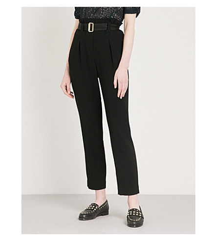 CLAUDIE PIERLOT High-rise tapered crepe trousers (Black