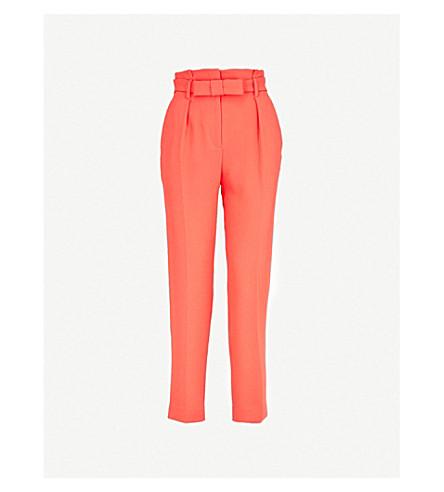 CLAUDIE PIERLOT 皮带休闲版型锥形高腰绉裤子 (珊瑚