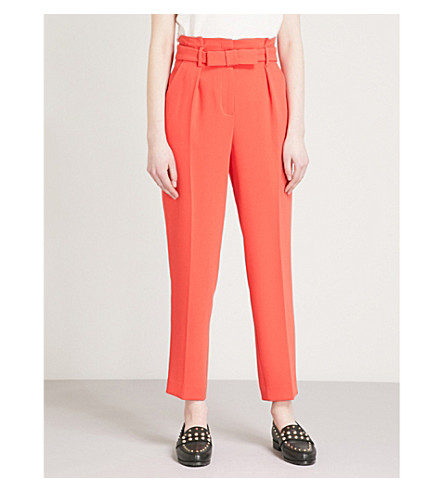 Cheap Sale Visa Payment Sale Best Wholesale CLAUDIE PIERLOT Belted relaxed-fit tapered high-rise crepe trousers Coral In UK Cheap Pay With Visa Amazon Online INfMTMZe