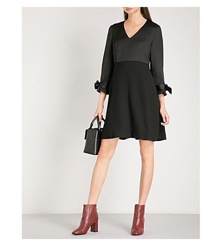 CLAUDIE PIERLOT Bow-detail satin and crepe dress (Noir