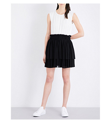 CLAUDIE PIERLOT Two-tone crepe dress (Ecru