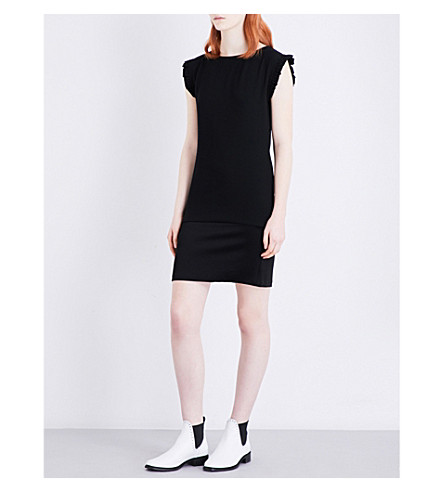 CLAUDIE PIERLOT Reelle crepe and satin dress (Noir