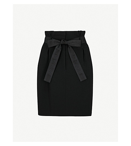 CLAUDIE PIERLOT Belted high-rise woven mini skirt (Black