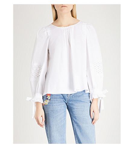 CLAUDIE PIERLOT Embroidered tie-sleeve cotton-poplin top (White
