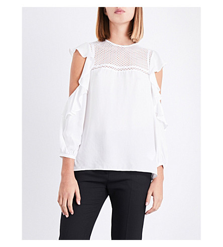 CLAUDIE PIERLOT Cold shoulder ruffled crepe top (Ecru