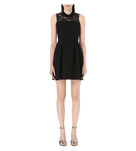 CLAUDIE PIERLOT Refrain Bis lace and crepe dress (Noir