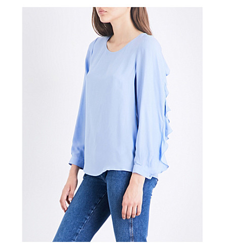 CLAUDIE PIERLOT Basilic ruffled-sleeve crepe top (Glacier