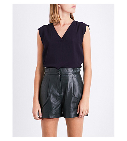 CLAUDIE PIERLOT V-neck crepe top (Marine