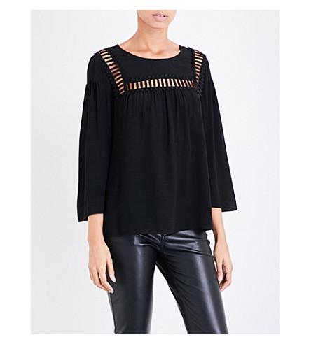 CLAUDIE PIERLOT Ladder-trim crepe blouse (Noir