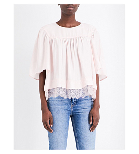 CLAUDIE PIERLOT Baleares crepe top (Rose+pale