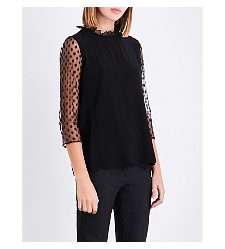 CLAUDIE PIERLOT Polka dot tulle and crepe top (Noir