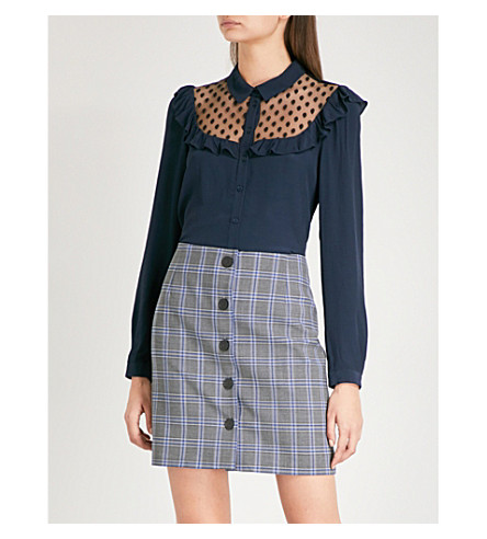 CLAUDIE PIERLOT Ruffled tulle and crepe shirt (Petrol