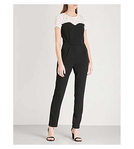 CLAUDIE PIERLOT Contrast-yoke crepe and lace jumpsuit (Cream
