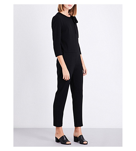 CLAUDIE PIERLOT Tapered crepe jumpsuit (Noir