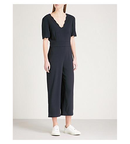 CLAUDIE PIERLOT Scalloped-trim crepe jumpsuit (Blue
