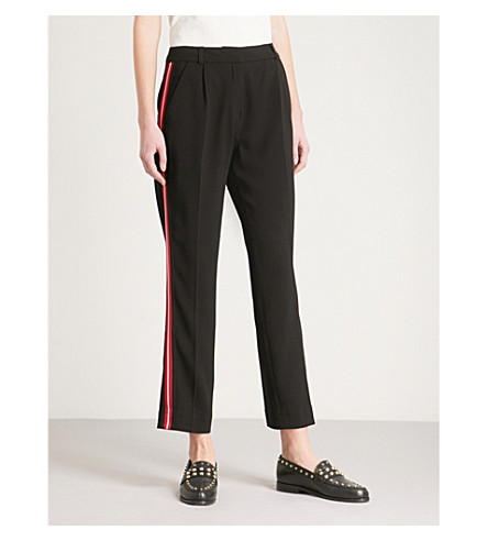 CLAUDIE PIERLOT Side-stripe straight high-rise crepe trousers (Black