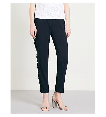 CLAUDIE PIERLOT Scalloped-trim high-rise crepe trousers (Blue