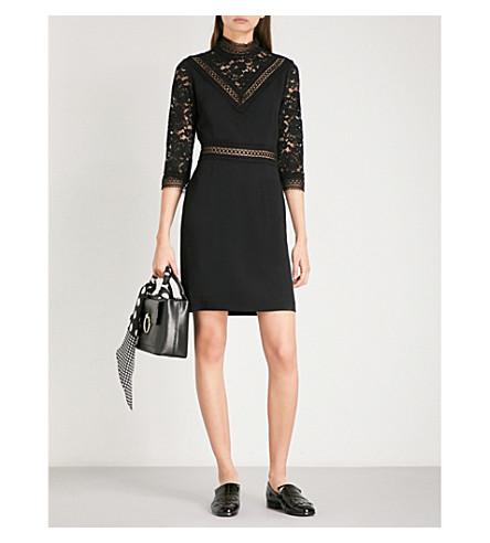 CLAUDIE PIERLOT High neck floral-lace and crepe mini dress (Noir