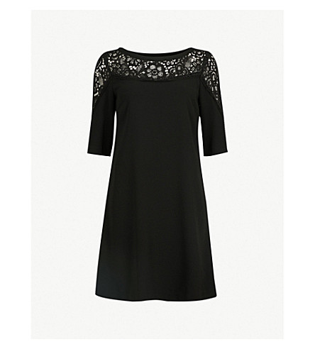 CLAUDIE PIERLOT Lace-panel crepe dress (Black
