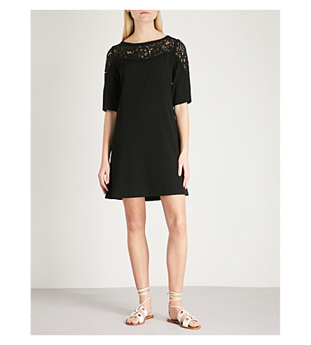 CLAUDIE PIERLOT Lace-panel crepe dress (Black