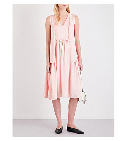 CLAUDIE PIERLOT Reveuse satin dress (Poudre