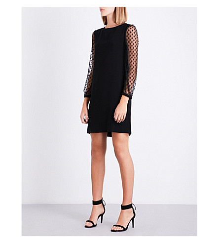 CLAUDIE PIERLOT Polka-dot tulle and crepe shift dress (Noir