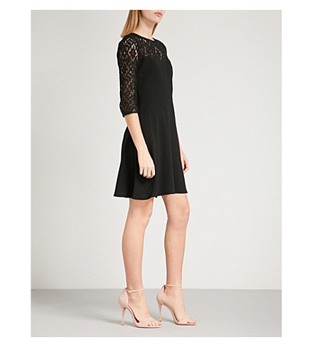 CLAUDIE PIERLOT Rimabelle lace-panel crepe dress (Black