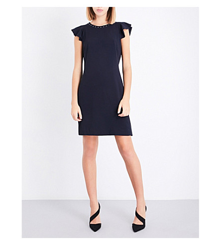 CLAUDIE PIERLOT Flared-sleeve crepe dress (Marine