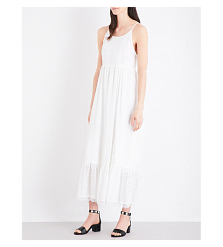 CLAUDIE PIERLOT Rosee hammered satin maxi dress (Ecru