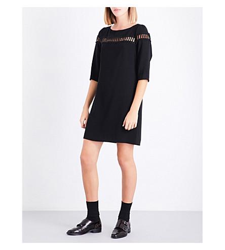 CLAUDIE PIERLOT Lace cutout crepe dress (Noir