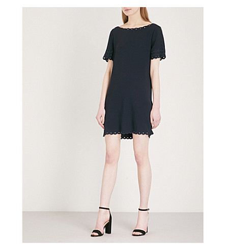 CLAUDIE PIERLOT Scalloped-trims crepe mini dress (Blue