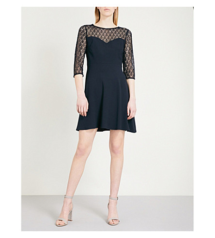 CLAUDIE PIERLOT Lace-panel crepe mini dress (Blue