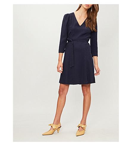 CLAUDIE PIERLOT Raphael paisley-embroidered woven dress (Midnight+blue