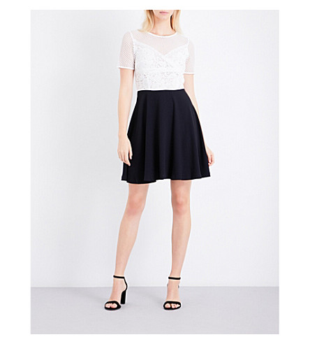 CLAUDIE PIERLOT Regard lace-panel dress (Ecru