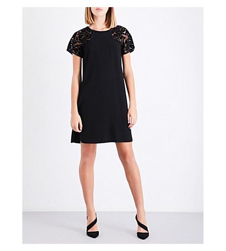 CLAUDIE PIERLOT Floral mesh-sleeve crepe dress (Noir