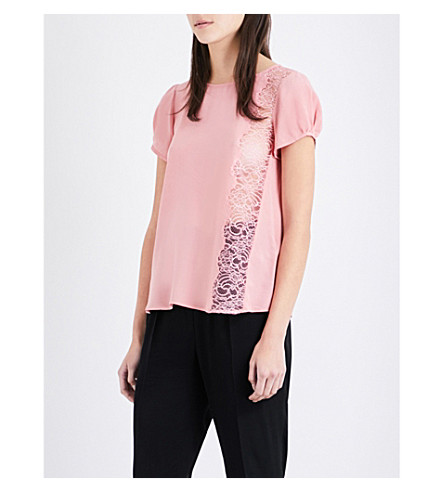 CLAUDIE PIERLOT Bento crepe and floral-lace top (Blush