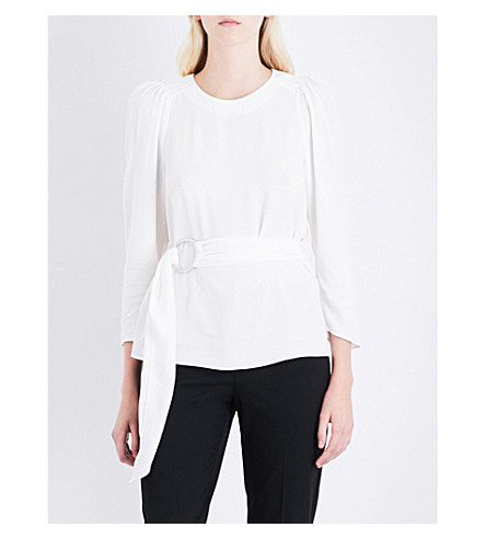 CLAUDIE PIERLOT Belted crepe top (Ecru
