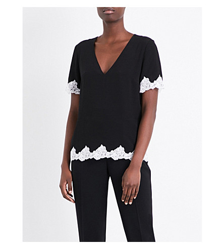 CLAUDIE PIERLOT Lace-trimmed crepe top (Noir