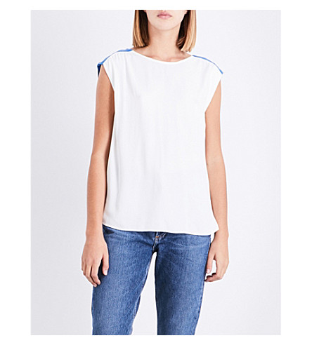 CLAUDIE PIERLOT Pleated crepe top (Ecru