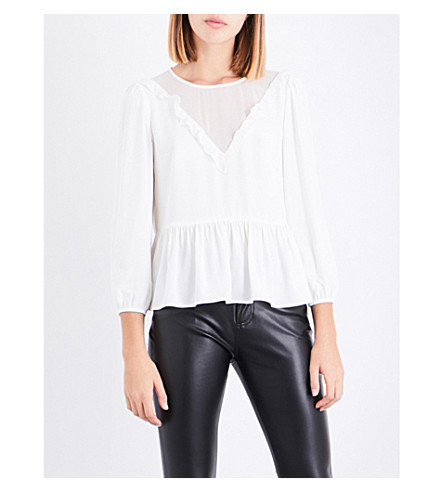CLAUDIE PIERLOT Sheer-panel flared-hem crepe top (Ecru